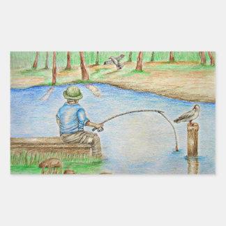 fiskare rektangulärt klistermärke