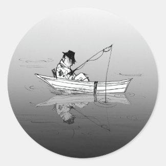 Fiskare Runt Klistermärke