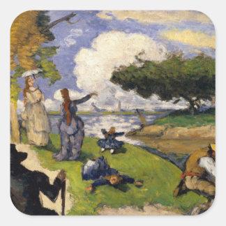 Fiskarna (den fantastiska platsen) Paul Cézanne Fyrkantiga Klistermärken
