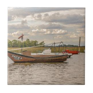 Fiske och segelbåtar på den Santa Lucia floden i Kakelplatta