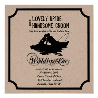 Fiskeälskareunderbaren fångar bröllopinbjudan fyrkantigt 13,3 cm inbjudningskort