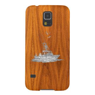 Fiskebåt för djupt hav för krom på Teakfanértryck Galaxy S5 Fodral