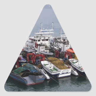 Fiskebåtar i Valletta Triangelformat Klistermärke