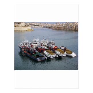 Fiskebåtar i Valletta Vykort