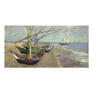Fiskebåtar på stranden av Vincent Van Gogh Fotokort
