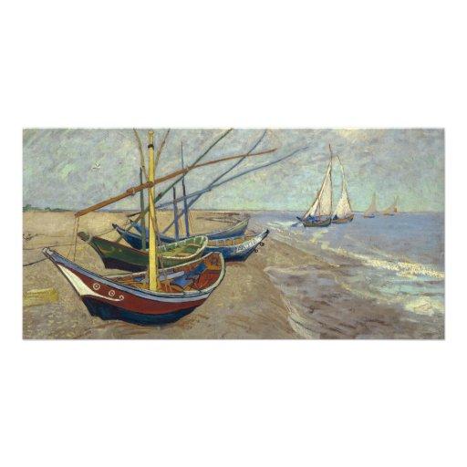 Fiskebåtar på stranden av Vincent Van Gogh Anpassingsbara Fotokort