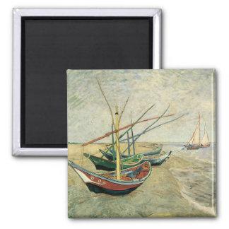 Fiskebåtar på stranden av Vincent Van Gogh Magnet