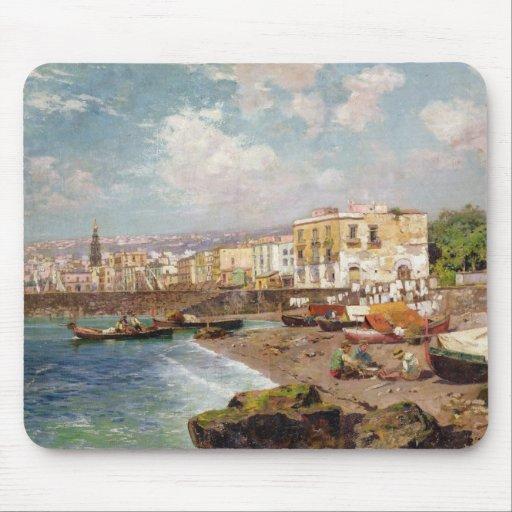 Fiskebåtar på stranden på Marinella, Naples (nolla Musmattor