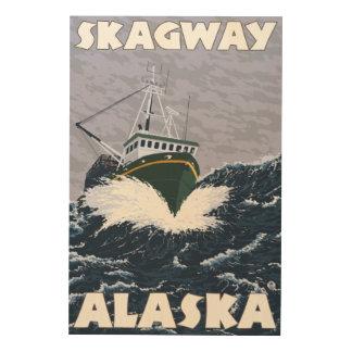 Fiskebåtplats - Skagway, Alaska Trätavla