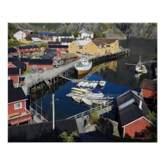 Fiskeläge Nusfjord. Rorbueren, som Poster