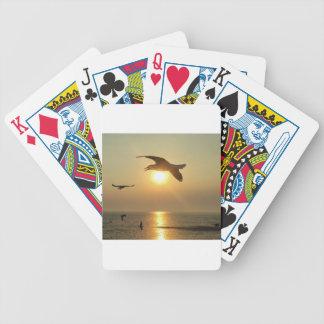 Fiskmås på solnedgången spelkort