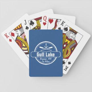Fiskmås sjön Minnesota ankrar, paddlar townen och Spel Kort