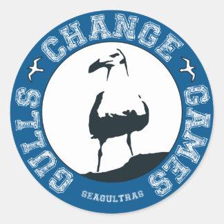 """Fiskmåsändring spelar 3"""" klistermärkear (lakan av runt klistermärke"""