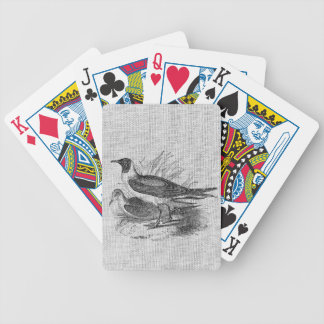 Fiskmåsar på vitBurlap Spelkort