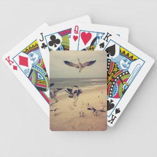Fiskmåsar som flyger på stranden spelkort