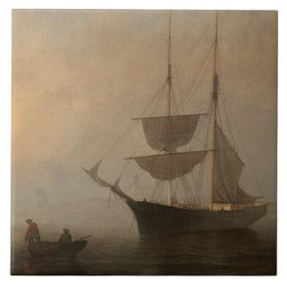 Fitz Henry Lane - frakt i dimma, Gloucester hamn Kakelplatta