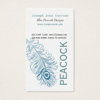 Fjäder för klassikerblåttpåfågel visitkort