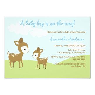 Fjädra hjort och lisma baby showerinbjudan - pojke 12,7 x 17,8 cm inbjudningskort