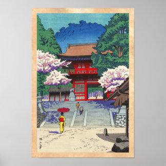 Fjädra på hangaen för den Kurama tempelAsano Poster