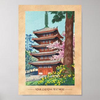 Fjädra på hangaen för den Kurama tempelAsano Takej Affisch