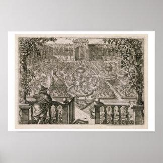 """Fjädra trädgården, från """"Hortus Floridus"""", publice Poster"""