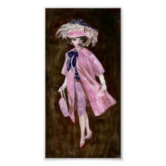 Fjädrar, Mauvy silke & Suede: Matisse dockamode Poster