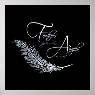 Fjädrar visas när änglar är nära poster