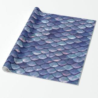 Fjäll för sjöjungfruhavsblått presentpapper