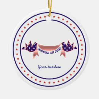 Fjärde 4th av Juli duvor med stjärnaprydnaden Julgransprydnad Keramik