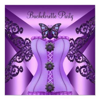 Fjäril för korsett för lila för Bachelorette party Fyrkantigt 13,3 Cm Inbjudningskort