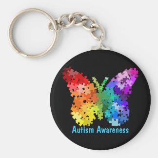 Fjäril Keychain för Autismmedvetenhetpussel Rund Nyckelring
