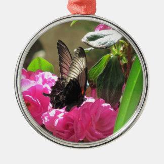 Fjäril och blommor julgransprydnad metall