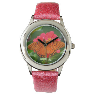 Fjäril och rosablomma armbandsur