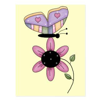 Fjäril och rosadaisy vykort