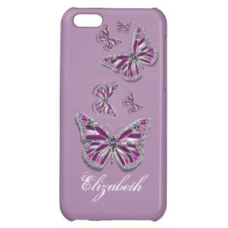 Fjäril PERSONIFIERAT flickaktigt rosa lilasilver iPhone 5C Skydd