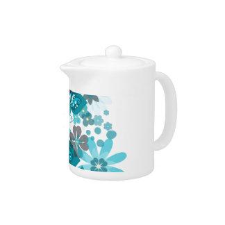 Fjärilar & tekanna för blommor (blått)