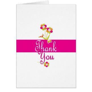 Fjärilen och blommor tackar dig att card. hälsningskort