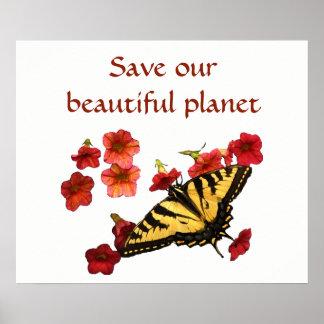 Fjärilen på röda blommor sparar vår planetaffisch poster