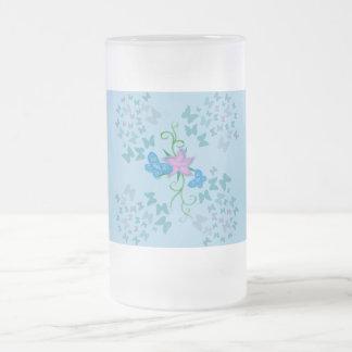 Fjärilsblått Frostad Glas Mugg