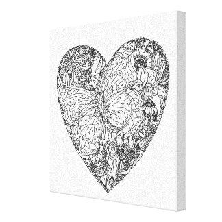 Fjärilshjärtamönster 6 canvastryck
