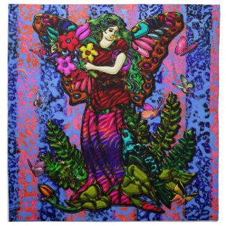 Fjärilskvinna med blommor och fjärilar tygservett