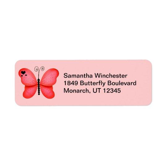 Fjärilsreturetiketter Returadress Etikett
