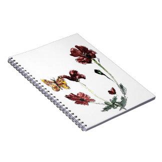 Fjärilsvallmon blommar illustrationen anteckningsbok