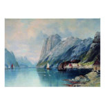Fjord i norgemålning vid leven Lagorio