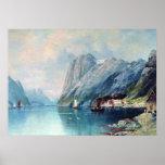Fjord i norgemålning vid leven Lagorio Affischer