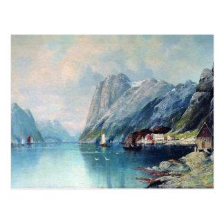 Fjord i norgemålning vid leven Lagorio Vykort