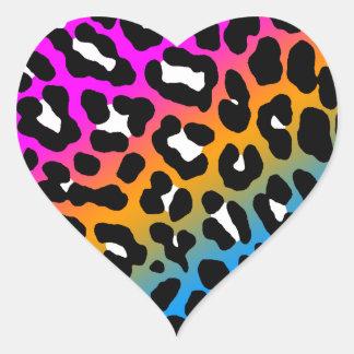 Fläckar för Leopard för Corey tiger80-tal Hjärtformade Klistermärken