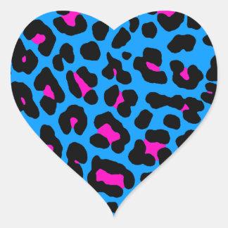 Fläckar för Leopard för Corey tiger80-tal (blått) Hjärtformat Klistermärke