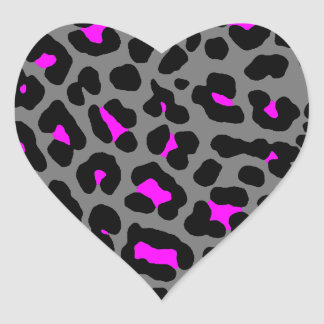 Fläckar för Leopard för Corey tiger80-tal (grått) Hjärtformade Klistermärken