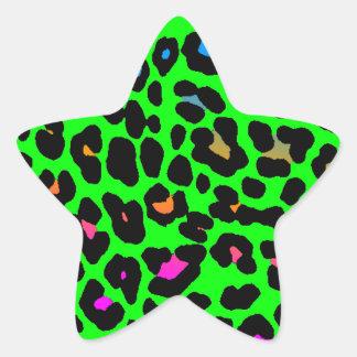 Fläckar för Leopard för Corey tiger80-tal (grönt) Stjärnformat Klistermärke